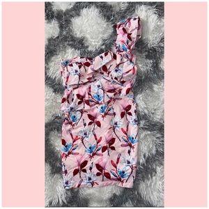 NWOT The Sang one shoulder pink floral dress